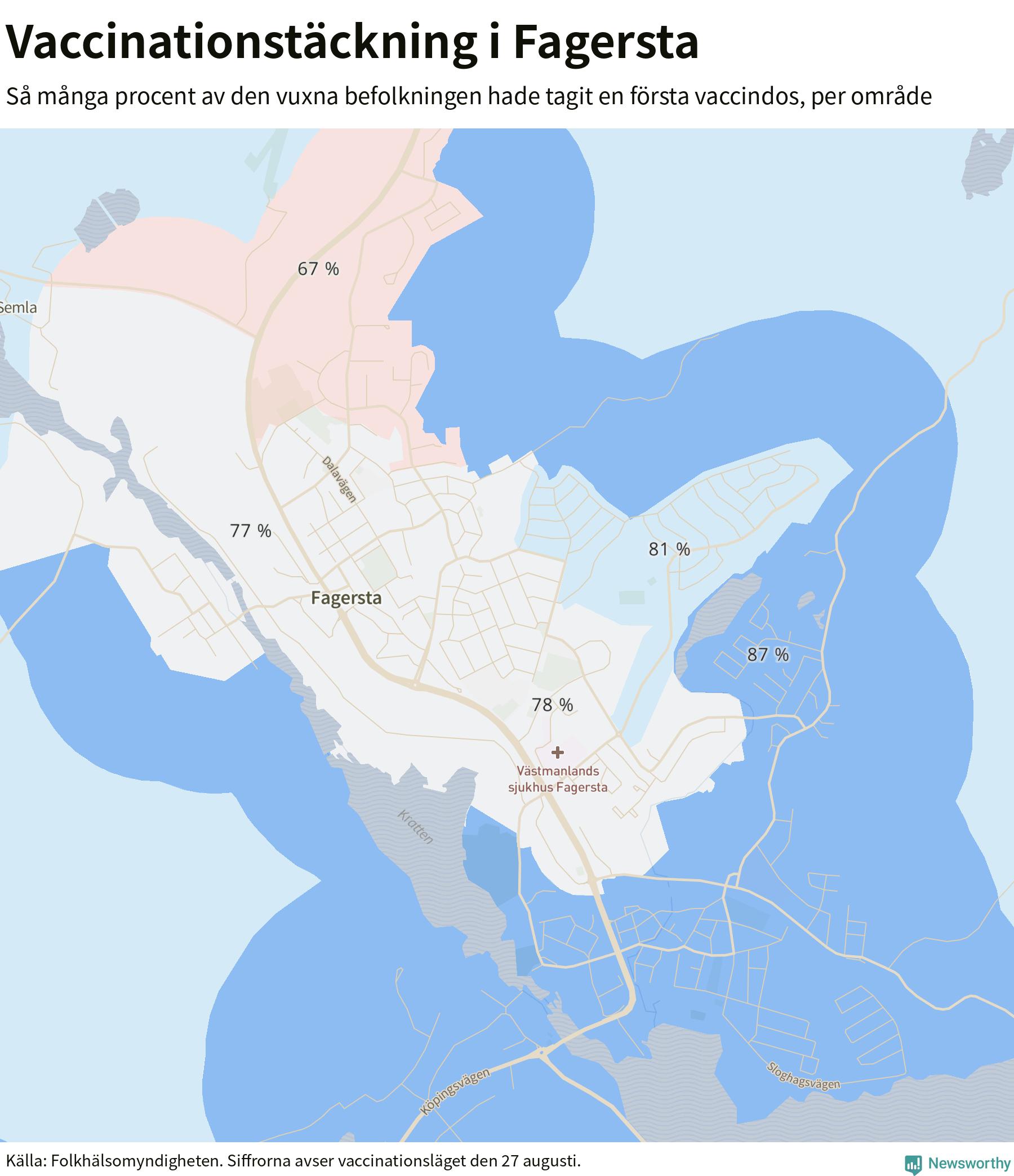 Karta över vaccinationstäckning i Fagersta